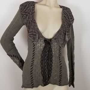BKE boutique boho sweater with velvety collar
